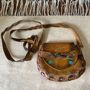 VTG Boho Hand Painted Leather Crossbody Bag